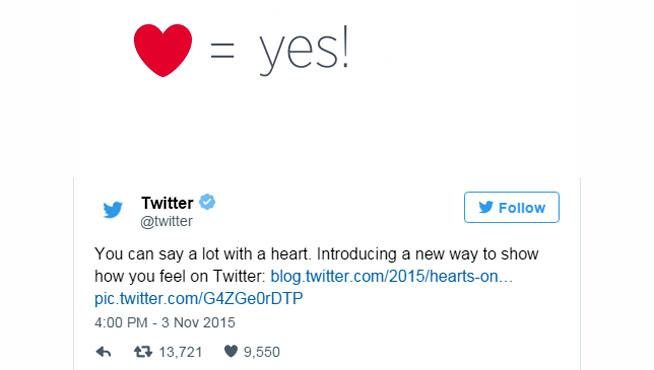Adiós a la estrella de Twitter, bienvenidos los corazones